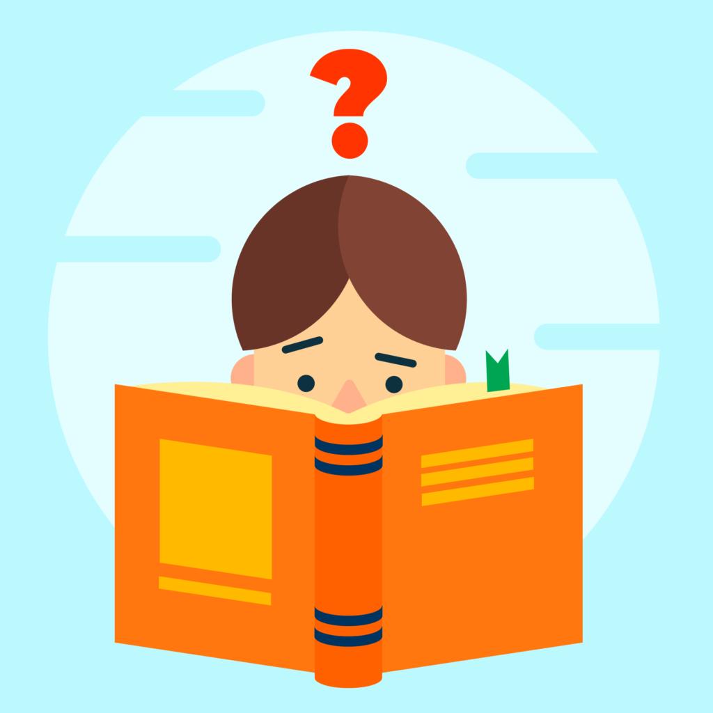 Иллюстрация ребёнка, читающего книгу
