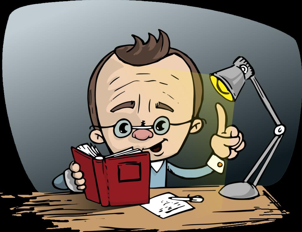 Нарисованный человек, читающий книгу за столом с включённой настольной лампой